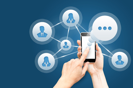 instant messaging: Chat, social network, instant messaging concepts. Stock Photo