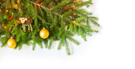 bedeck: Christmas fir tree with decoration on white background Stock Photo