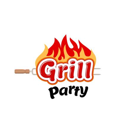 resplandor: Grill parte Logo, vector