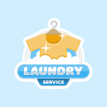 bleaching: laundry service logo emblem badge . Clean shirt on a hanger out of the washing machine and the words Laundry.