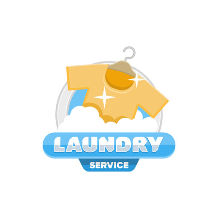 shirts on hangers: service laundry logo , emblem, badge template