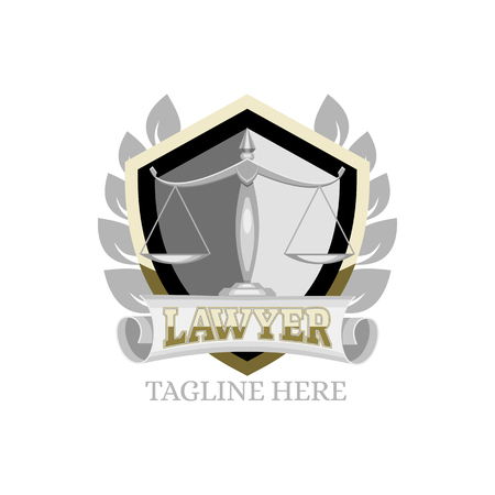 logo lawyer with a shield and scales, vector