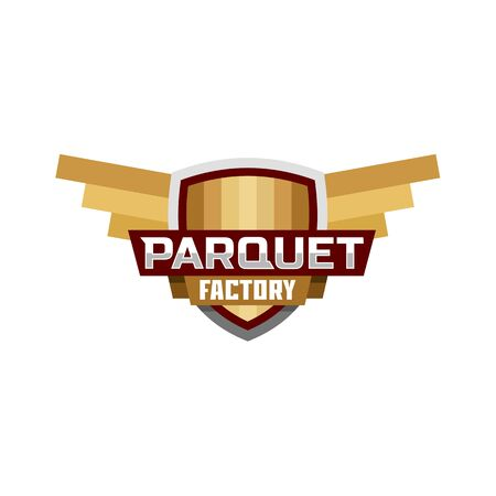 flooring: parquet factory logo icon emblem Illustration