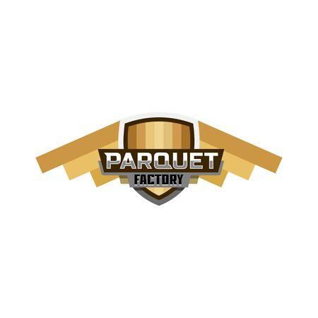 Parquet manufacture logo badge Illustration