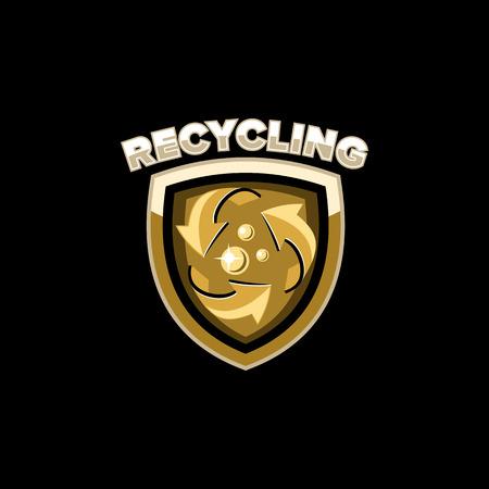 logo recyclage: usine de recyclage logo emblème vecteur