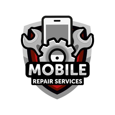 mobiele reparatie diensten logo icon emblem vector