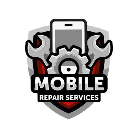mobile repair services logo icon emblem vector