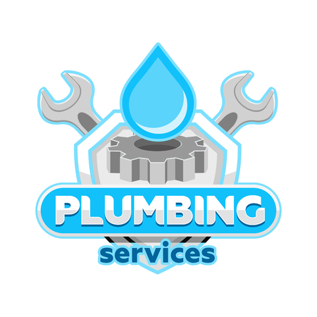 Plumbing logo badge icon emblem template vector