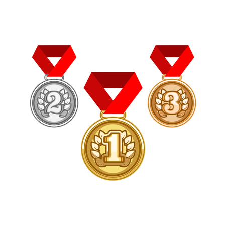 Medals with Ribbon. Vector illustration