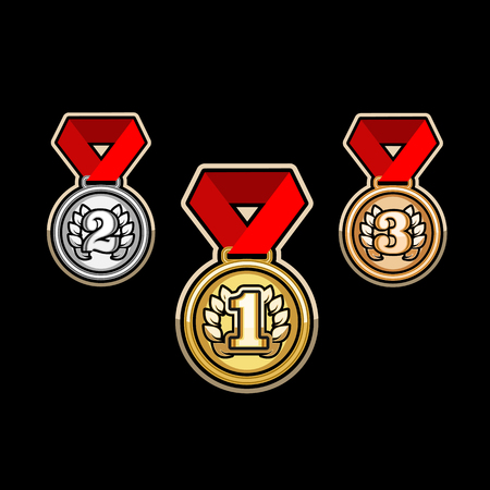 bronze medal: Silver,Gold, and bronze medal Set vector sports awards Illustration