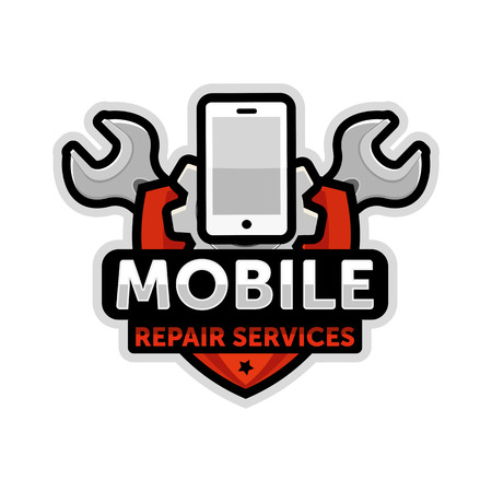 mobile repair logo emblem vector