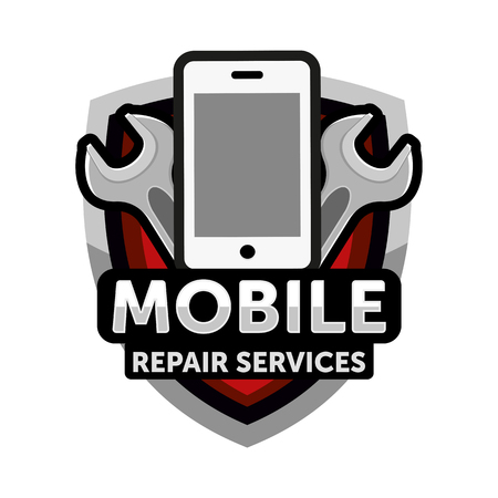 mobile repair services logo  イラスト・ベクター素材