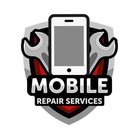 mobile repair services logo Illustration