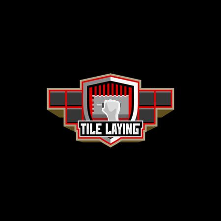 Tile laying logo badge emblem Stock Illustratie