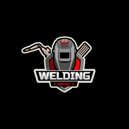 soldador: Máscara de soldador soplete de corte con el logotipo del vector Vectores