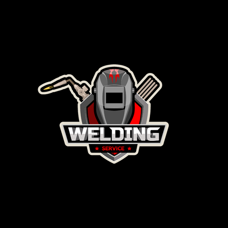 mask Welding cutting torch with logo vector