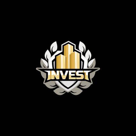 stylized banking: invest logo emblem concept design