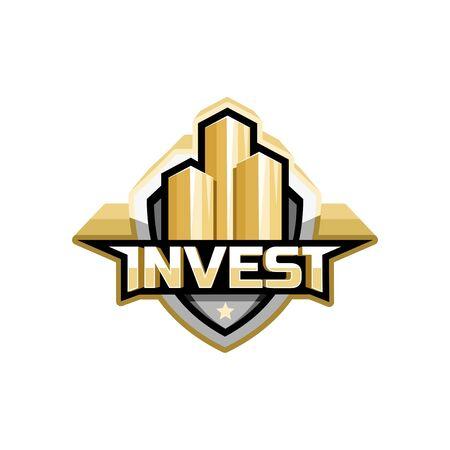 stylized banking: invest logo icon concept design Illustration