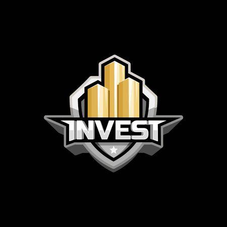 stylized banking: invest logo icon emblem design