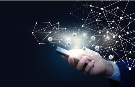 Innovatief management van het personeel in het netwerk op een mobiel apparaat.
