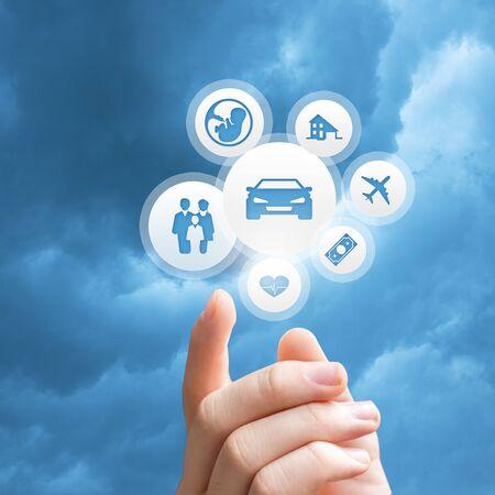 Insurance design over sky background Stock Photo