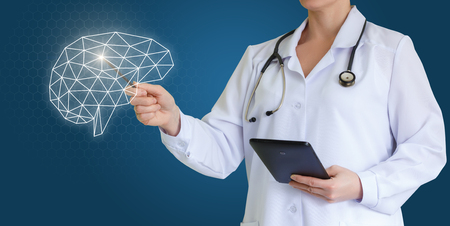Doctor shows brain.