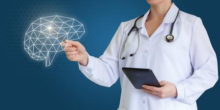Dokter toont hersenen.
