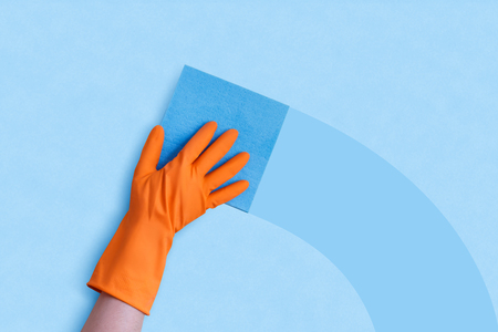 latex: Cleaning the Windows banner. Stock Photo