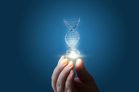 DNA ter beschikking op blauw achtergrondconceptontwerp.