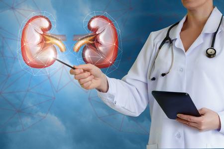 Arts toont knoppen op een blauwe achtergrond.