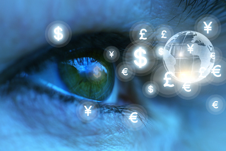 Eyes looking at currency symbols concept design.