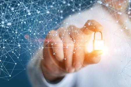 セキュリティはエンジニアのコンセプト デザインの手にサインインします。