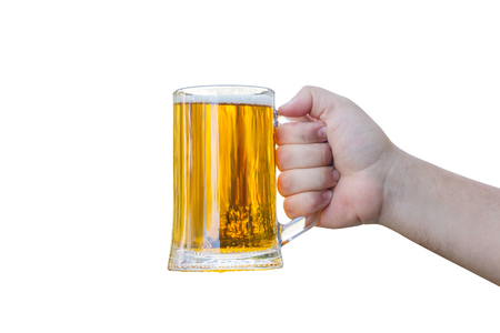 jarra de cerveza: Glass of beer in hand isolated on white background .