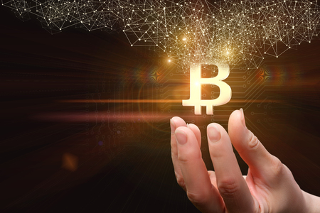 Business woman with hands offers bit coin .