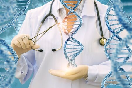 Study of DNA molecules by a doctor on a blue background.