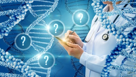 arise: The questions that arise in the study of DNA. Stock Photo