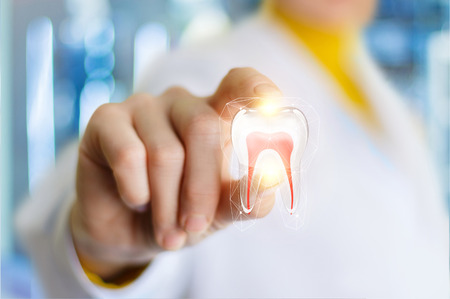 Layout of the tooth in the hand of the dentist on blurred background.