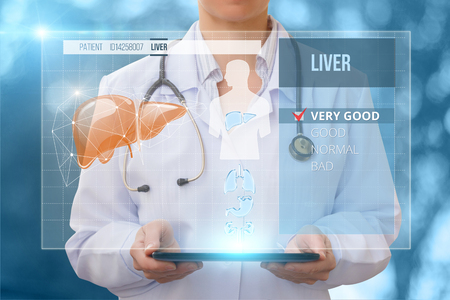 Doctor checks the health of the liver of the patient.