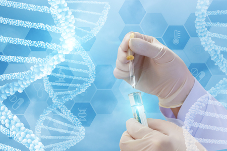 Testing of DNA molecules on a blue background. Banque d'images