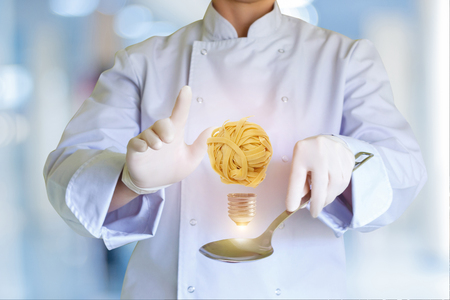 Idea as light bulb on the spoon from the cook concept design. Stock Photo