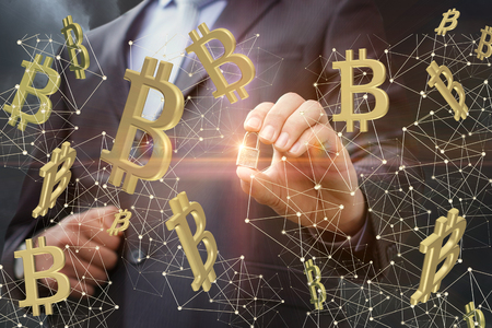 Protection on the network of bitcoins. Concept design. Stock Photo