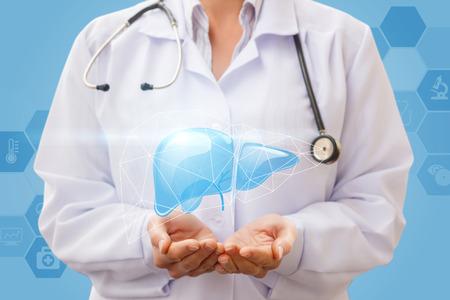 青色の背景に肝臓サポート。コンセプト デザイン。