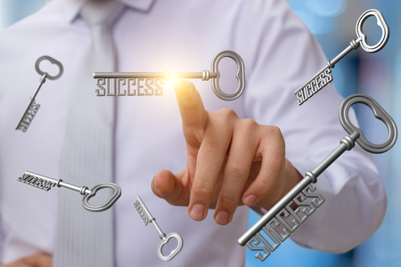 Businessman clicks on the key to success on blurred background.