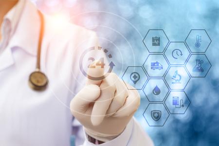 Health worker has been helping patients around the clock. Concept design.