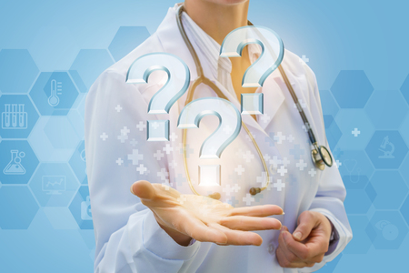 Doctor answers questions on a blue background.