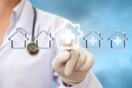 home care nurse: Health care provider selects the hospital on a blue background.