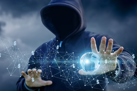 Hacker attack on the global Internet network with a blue background.