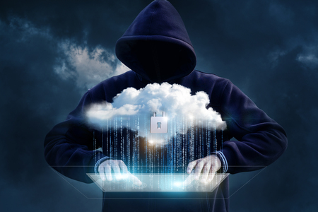 Hacker tries to get into the cloud data transfer. Concept security data.