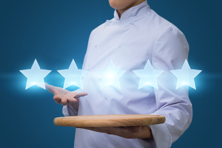 Cook show five star rating. Restaurant rating concept Banque d'images