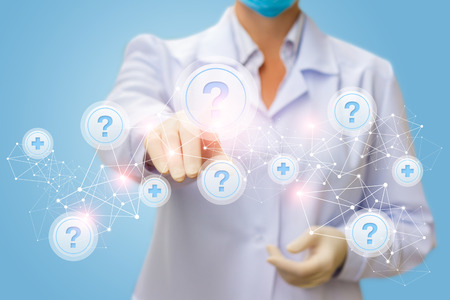 Physician clicks on the button with the question on the network with a blue background.
